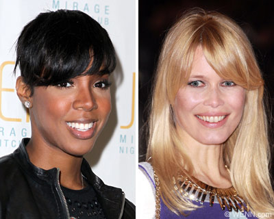 Kelly Rowland and Claudia Schiffer work the layered, eyebrow-grazing bangs
