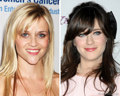 Reese Witherspoon and Zooey Deschanel have blended sideswept bangs