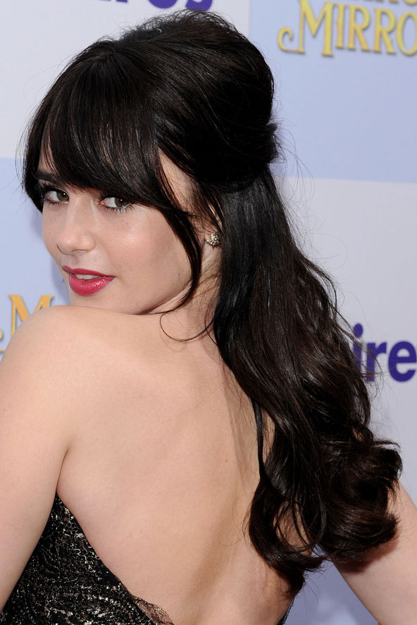 lily collins lengthy bangs