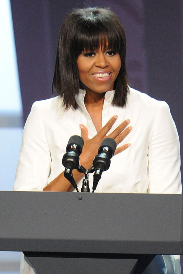 Michelle Obama eyebrow skimming fringe