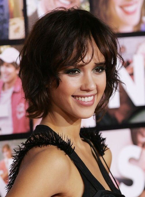 short wavy hair with fringes