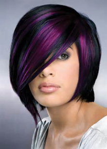 black purple highlight for short hair